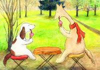 A postcard where Hulmu and Haukku are eating ice cream.