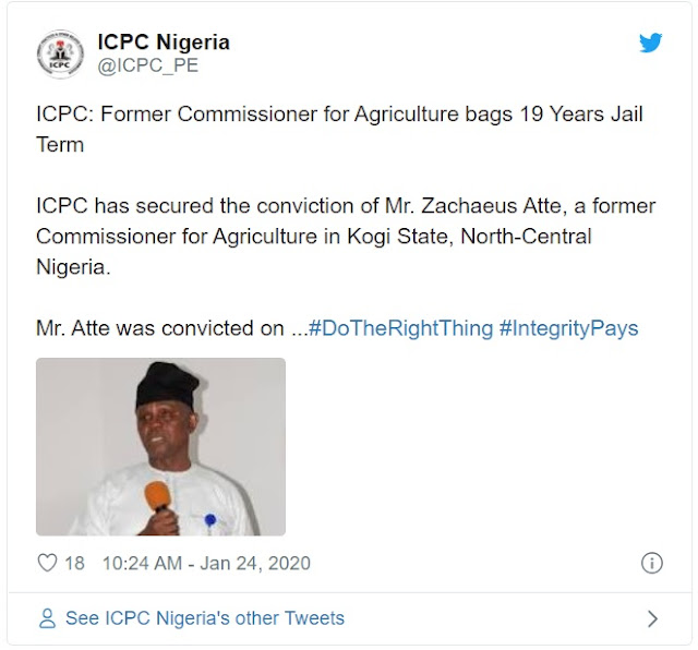 Former Kogi Commissioner Sentenced To 19 Years In Prison For Stealing Public Funds (Photo)