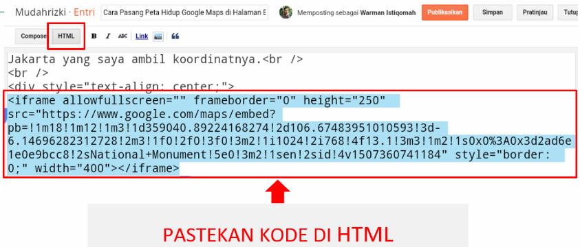 Cara memasang kode html peta google maps di website blog