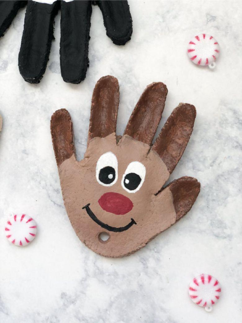 reindeer salt dough handprint ornament