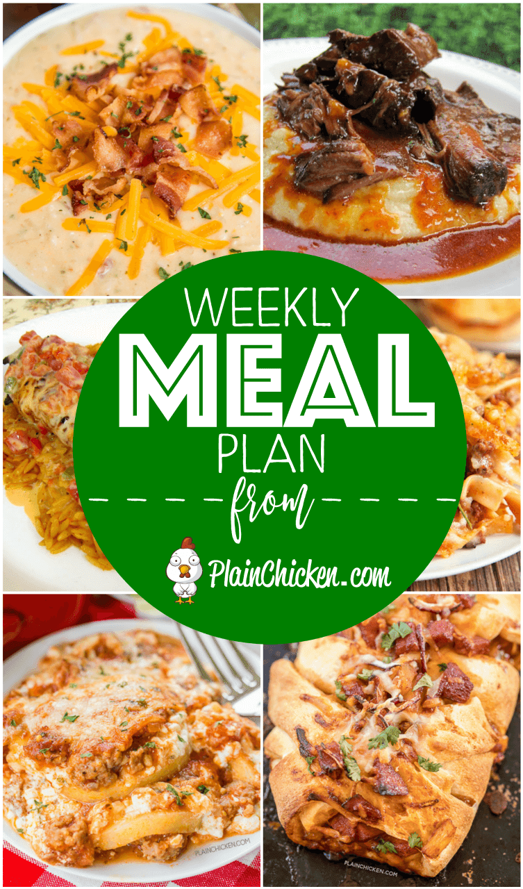 What's For Dinner? A quick and easy recipe for everyday of the week. Main dishes, side dishes and desserts! Something for everyone on this meal plan! #mealplan #dinner #easydinnerrecipe