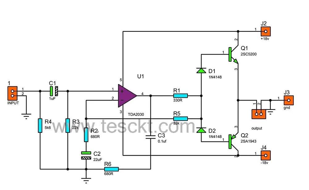 Tda2030 with transistor amplifier circuit diagram