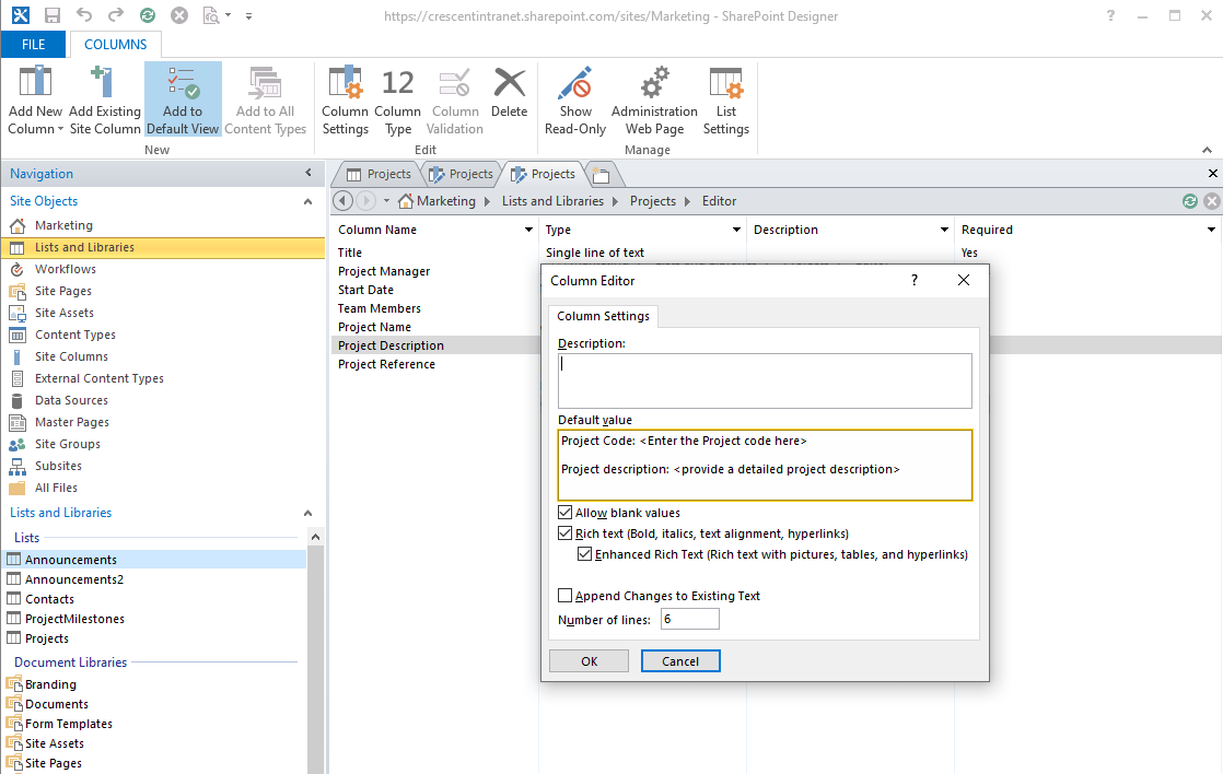 set default value for multiple lines of text column in sharepoint online