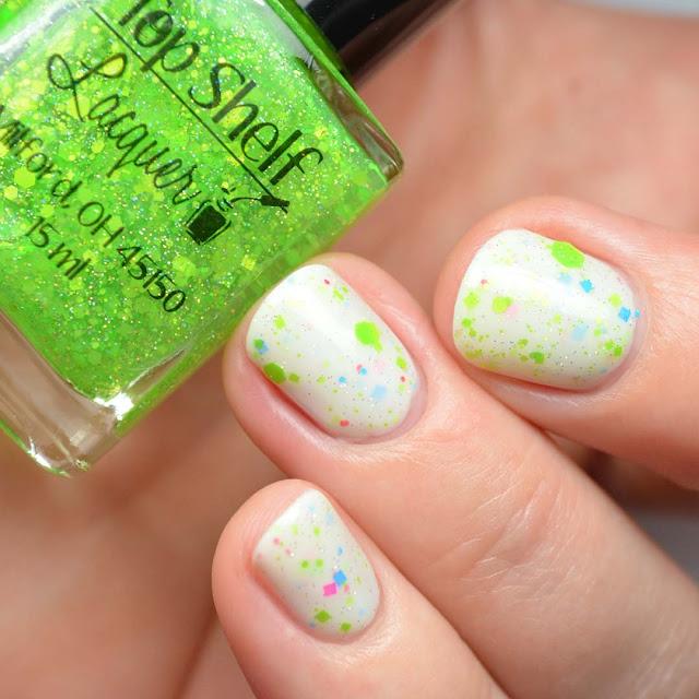 neon green glitter nail polish