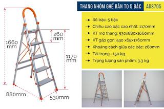 Thang nhôm ghế bản to 5 bậc Advindeq ADS-705