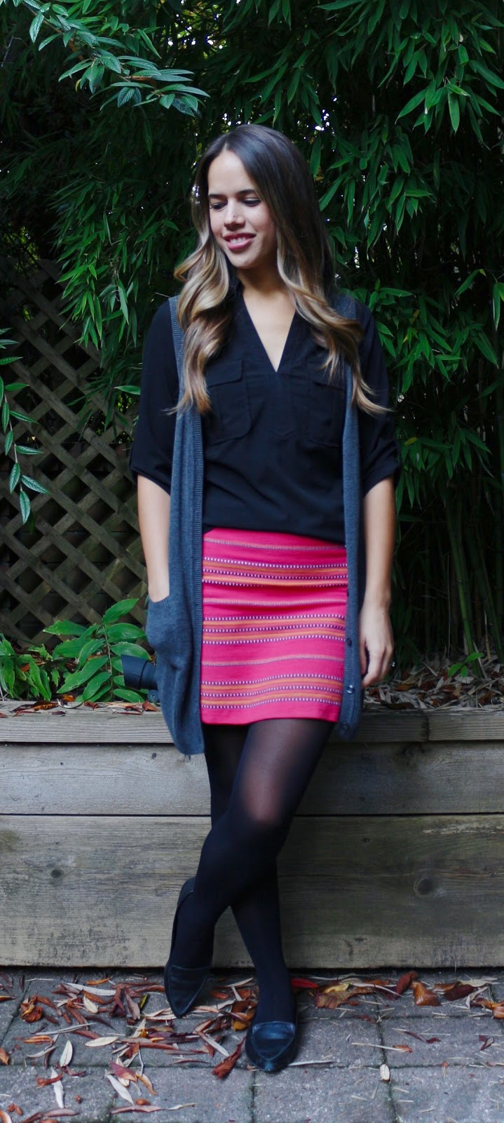 Jules in Flats - Fuschia Stripe Mini Skirt with Sweater Vest (Business Casual Fall Workwear on a Budget)