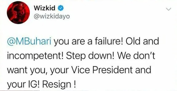 'You Are A Failure' - Singer Wizkid Attacks Pres. Buhari In New Tweet