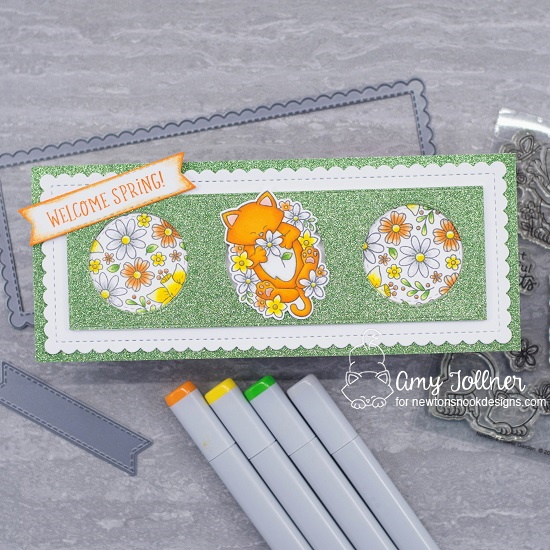 Welcome Spring by Amy features Newton's Flower Garden, Floral Roundabout, Spring Roundabout, and Slimline Frames & Portholes by Newton's Nook Designs; #inky paws, #newtonsnook, #cardmaking, #springcard