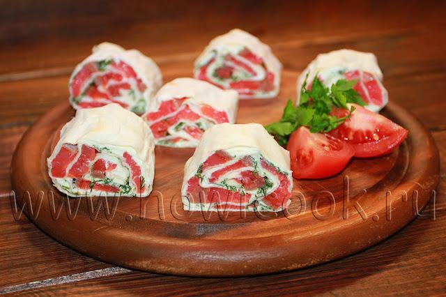 рецепт рулетиков из лаваша с семгой и сливочным сыром