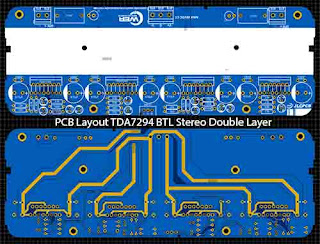 Power Amplifier TDA7294 BTL Stereo PCB Layout Double Layer:
