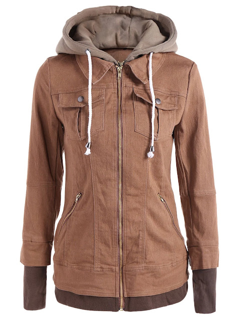 Trendy Hooded Long Sleeve Faux Twinset Pocket Design Jacket For Women - Khaki - S