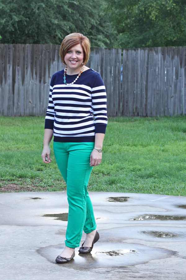 striped top with colored jeans
