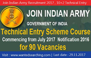Join Indian Army Recruitment 2017 , 10+2 Technical Entry Scheme Course - 90 vacancies - Last date to apply : 29.11.2017