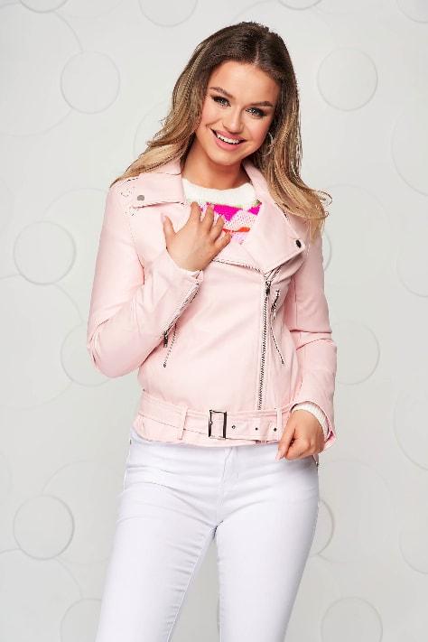 Geaca roz din piele ecologica casual scurta cu accesoriu tip curea