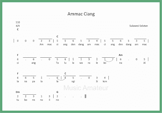 not angka lagu ammac ciang lagu daerah sulawesi selatan