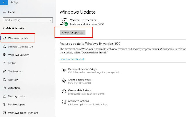 Check For Updates Windows 10 Version 1909