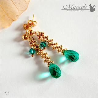 kolczyki z kroplami kwarcu,  quartz earrings
