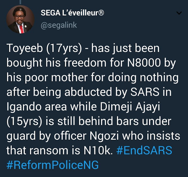17yr old detained by Igando police allegedly released after paying 8K ransom while 15yr old still in detention until his parents can cough up 10K