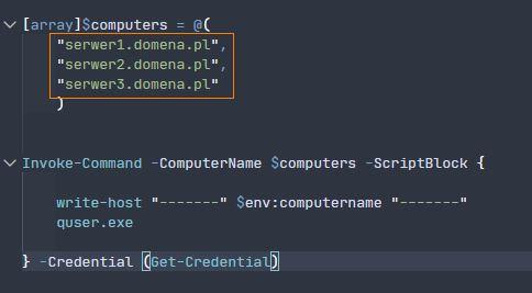 Miejsce edycji nazw serwerów w skrypcie