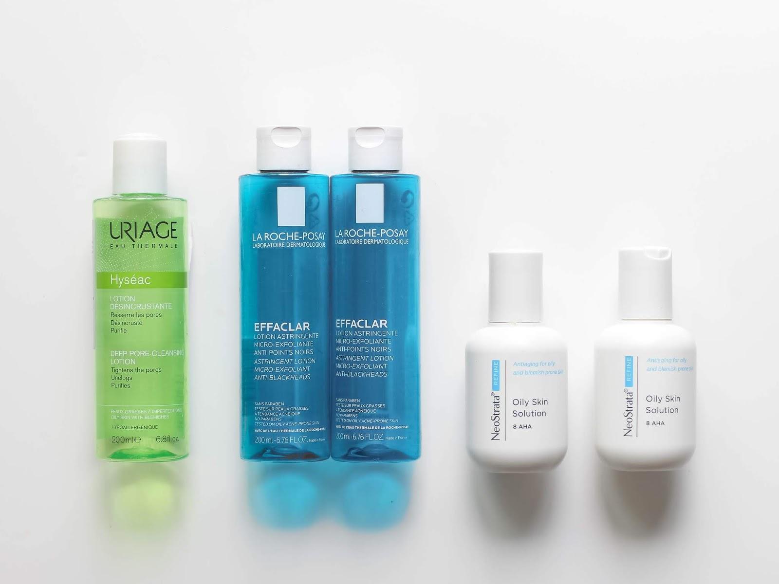 spotřebováno tonikum Uriage, Pleťová voda La Roche Posay a Neostrata oily skin solution