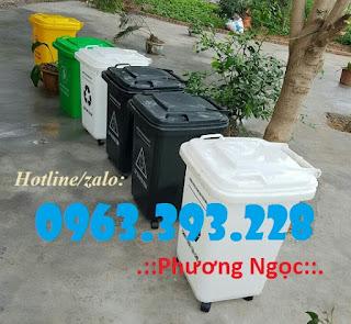 Thùng rác 60 Lít có 4 bánh xe, thùng rác nhựa HDPE, thùng rác 60L nắp kín