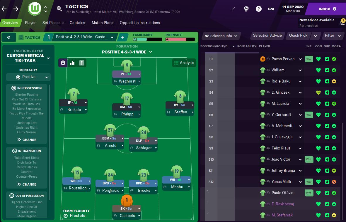FM21 Wolfsburg tactics
