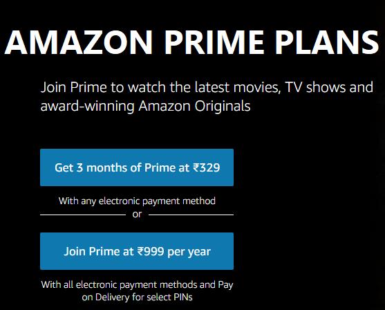Amazon Prime Videos plans