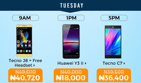 Jumia Mobile Week Day 2- Tecno J8 and C7 For N40,720 and N36,400 Respectively
