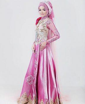 Gaun Pengantin Muslimah Terbaru Pink
