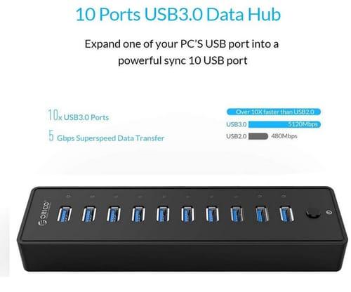 ORICO P10-U3-BK 10 Ports 36W USB 3.0 Data Hub
