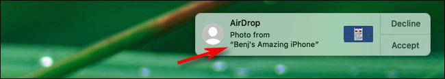 مثال على اسم AirDrop الجديد على جهاز Mac.