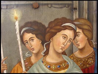 εικ. Λεπτομέρεια εμπνευσμένη από τοιχογραφία  με τα Εισόδια της Θεοτόκου, στην Πάτμο.