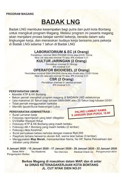 Rekrutmen Magang Badak LNG Tingkat SMA SMK D3 S1 Tahun 2020