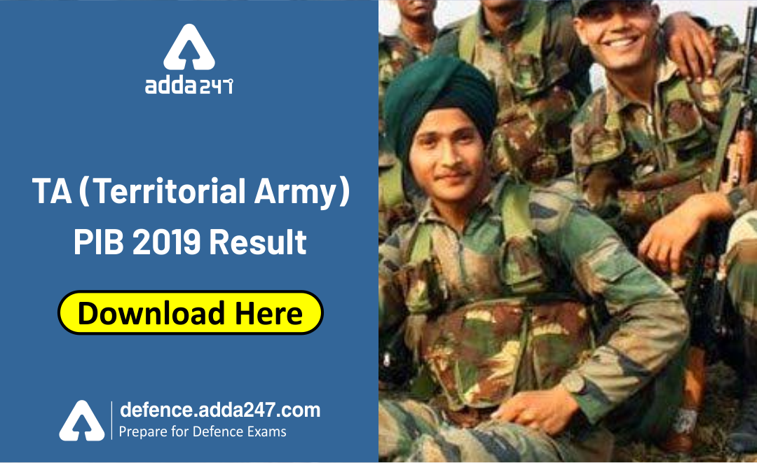 Ta Territorial Army Pib 2019 Result Download Here