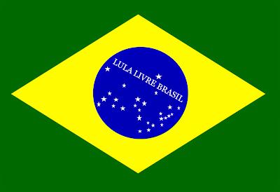 O novo lema da bandeira do Brasil será esse grito por justiça de: lula livre Brasil.