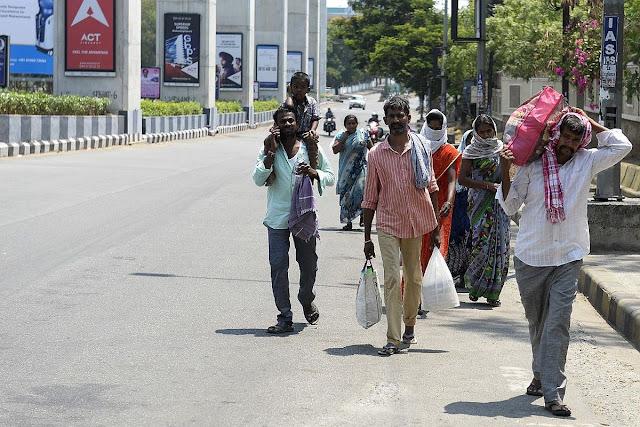 people on road during lockdown