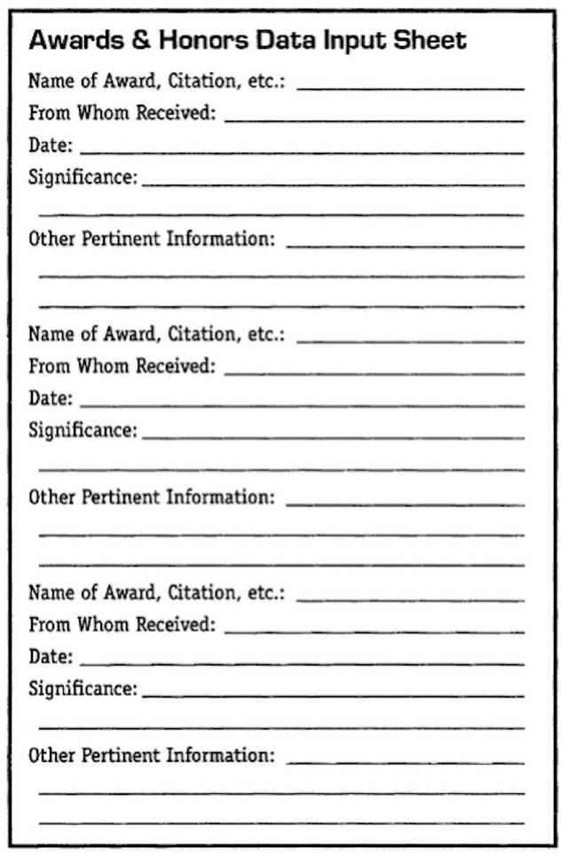 Awards & Honors Data Input Sheet