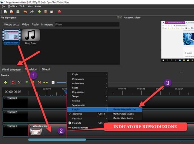 censurare audio nei video con openshot