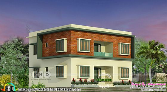 Flat roof house with red brick part on elevation