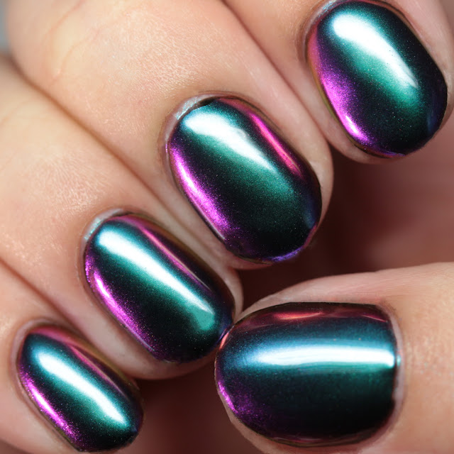 Girly Bits Cosmetics SFX Multi-Chrome Powder Wizardry over black gel
