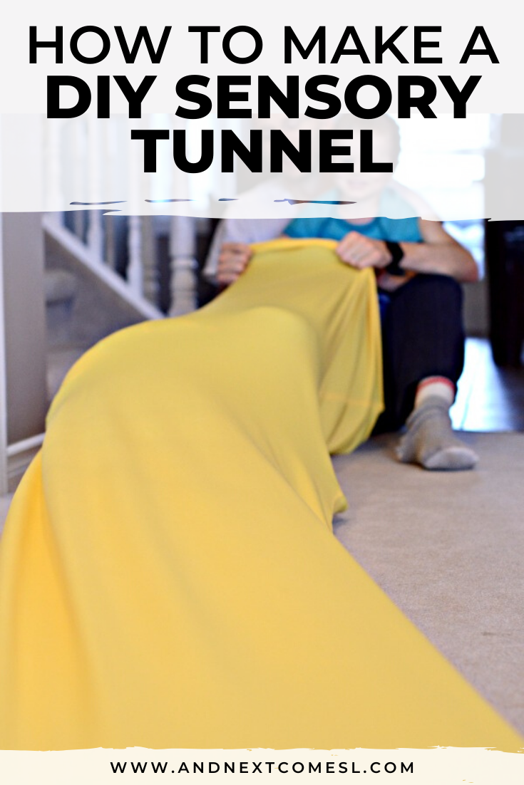Homemade sensory tunnel - a simple DIY tutorial for how to make your own out of lycra