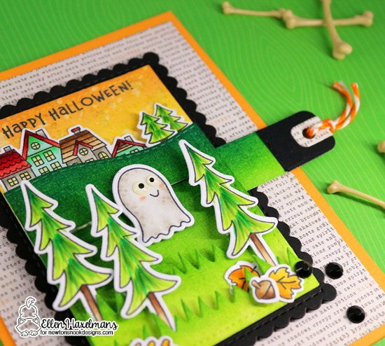 Interactive Halloween Card by Ellen Haxelmans | Boo Hoo, Fox Hollow and Snow Globe Scenes Stamp Sets and Land Borders Die Set by Newton's Nook Designs #newtonsnook #handmade
