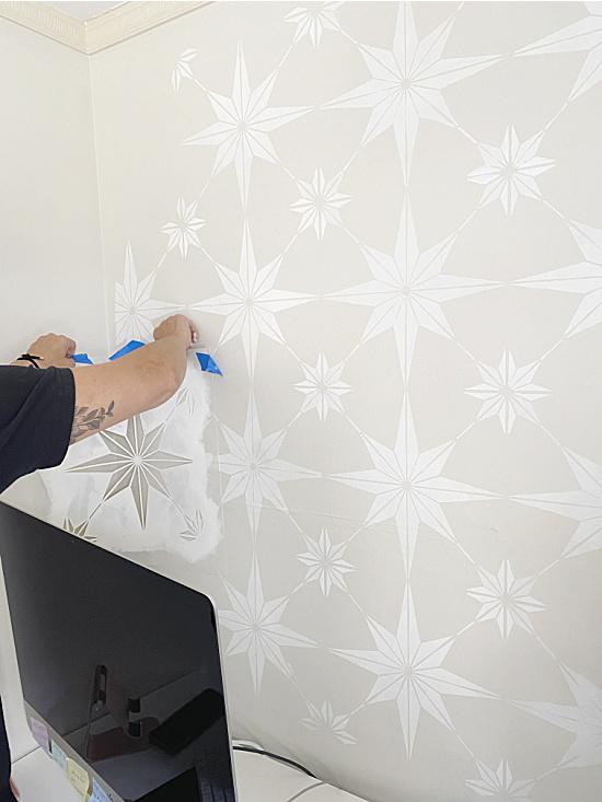 decorative stenciled wall