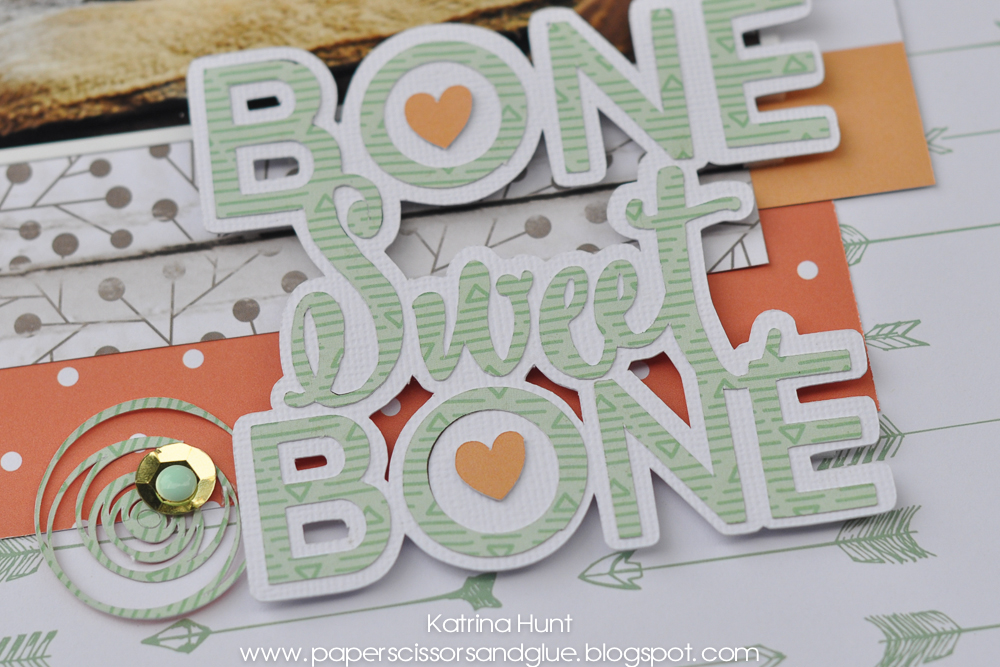 Bone Sweet Bone Scrapbook Page with Offset Title by Katrina Hunt 17turtles
