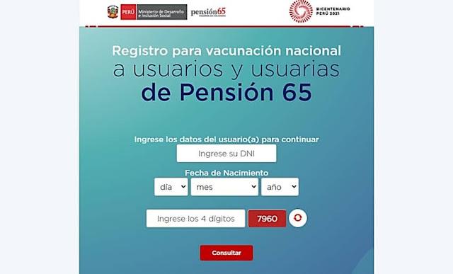 Registro para vacunación nacional a Usuarios del Programa Pensión 65