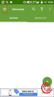 1. Langkah pertama untuk merubah lokasi download silakan kalian buka aplikasi ADM lalu pilih tombol garis tiga di pojok kiri atas
