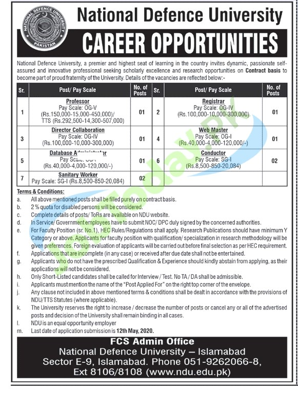 NDU Jobs 2020 | National Defence University Islamabad