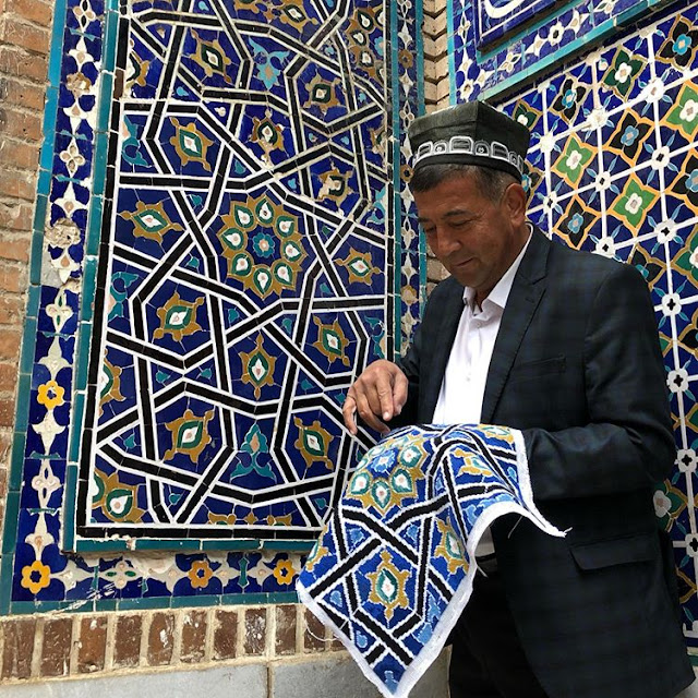 islamic tiles needlepoint tapestry, natalie fisher uzbekistan travels tapestry, uzbek art craft textile tours
