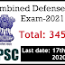 UPSC Notification for Combined Defense Service Exam 2021