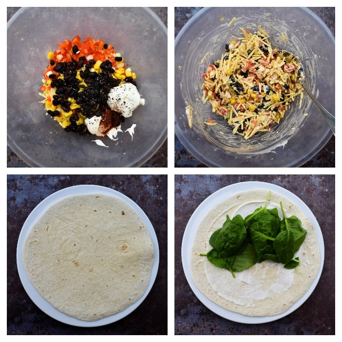 Making Tex Mex Cheese Crunch Wrap - Step 2 - mixing the wrap filling then adding vegan sour cream and spinach